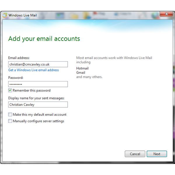 Adding accounts to Windows Live Mail