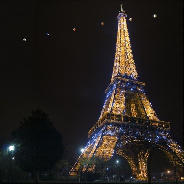 Lunar Eclipse with Eiffel Tower