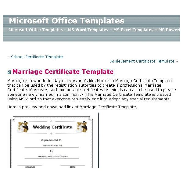 Sources For Printable Blank Marriage Certificates