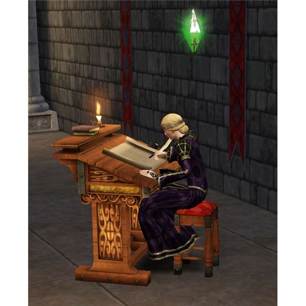 The Sims Medieval Monarch at Scribe Table