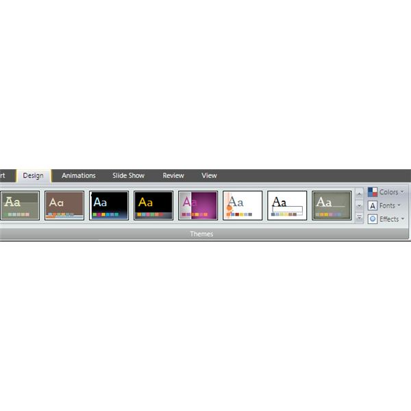 The Design Tab, With 19 Built-in Themes