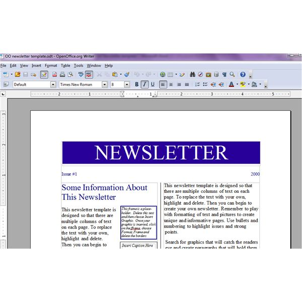 open office generic newsletter template from word association