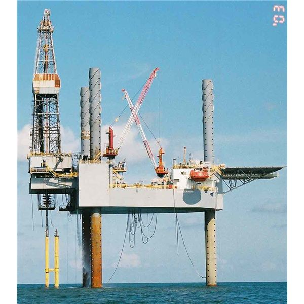 Oil drilling from sea floor in search of Black Gold