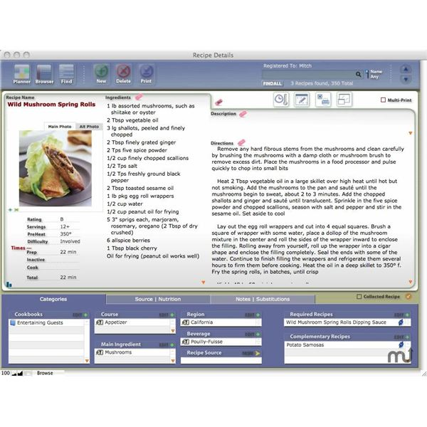 CookWare Deluxe Cookbook Software for Mac OS X