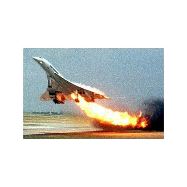 The Concorde just before crashing at Paris in 2003. This accident put the nail in the Concorde's coffin.