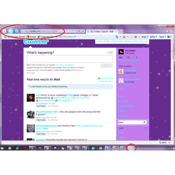 IE9 put Twitter icon on task bar- when clicked, a window opens at Twitter- in Twitter style and without added toolbars