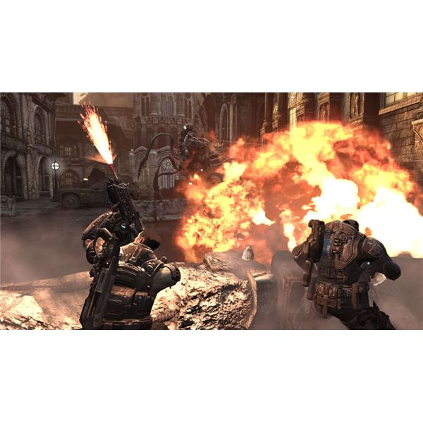 Gears of War 3: A battle scene from Gears of War.