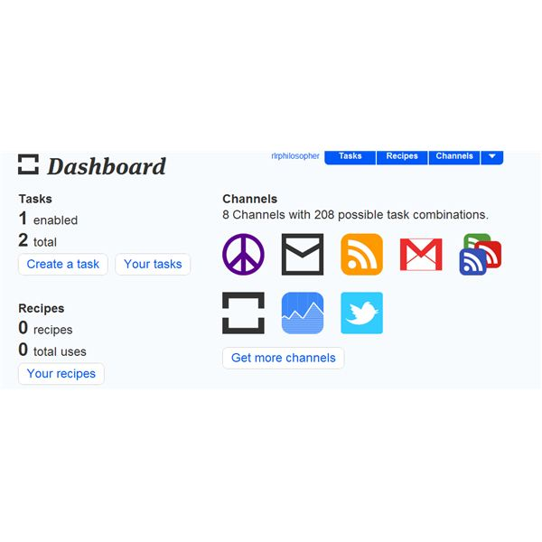 The dashboard for ifttt gives you an at-a-glance overview of your tasks.