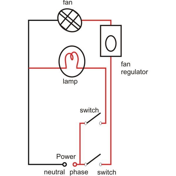standard lamp and fan wiring diagram from a single power source