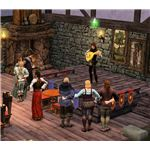 The Sims Medieval Bard playing the lute onstage