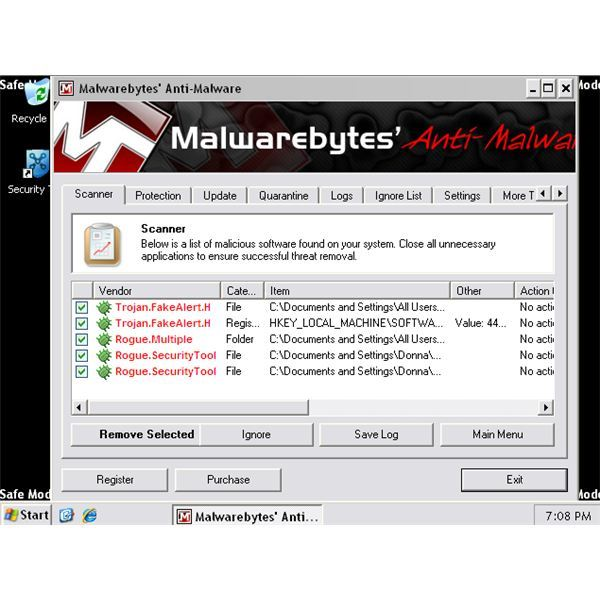 MBAM removes malware or rogue in Safe Mode