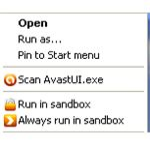 Avast Sandbox Context Menu