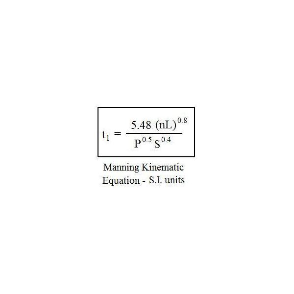 Manning kinematic equation SI units