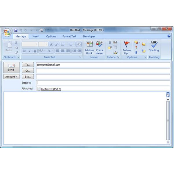 How To Send Outlook 2007 Email From The Command Line Example To