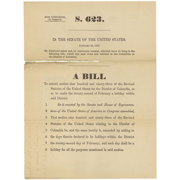 S.623, the bill that made Washington's Birthday a legal holiday in 1879