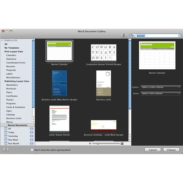 banner printing with microsoft word for mac