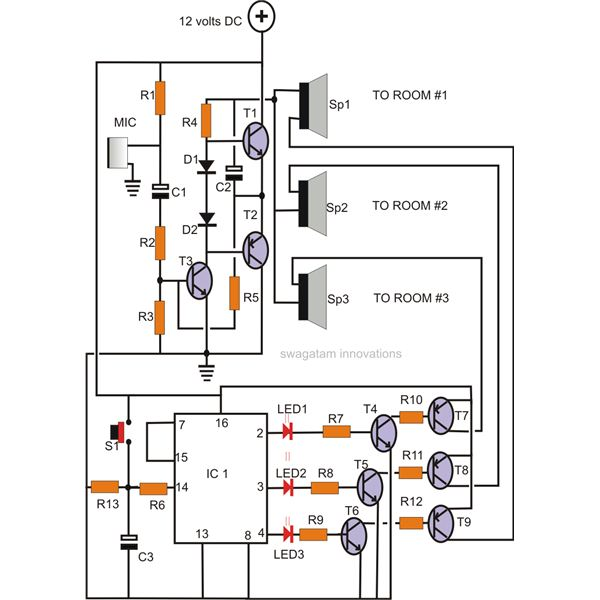 circuit description for a simple intercom  home intercome system circuit  diagram