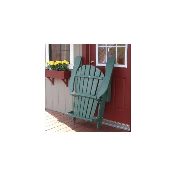 Recycled Poly Wide Folding Adirondack Chair - Dark Green folded