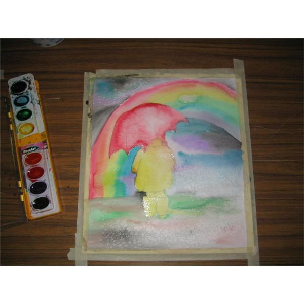 Paint in umbrella and child