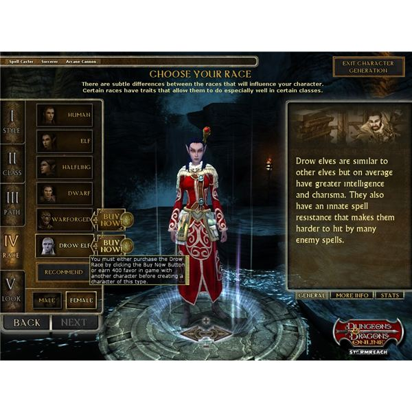 ddo store-chargen race options