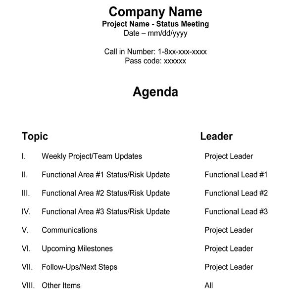 Sample Project Manager Team Meeting Agenda  Agenda Layout Template