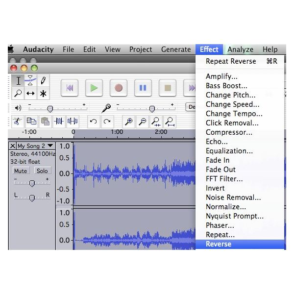 Reverse Music from your GarageBand Project using Audacity