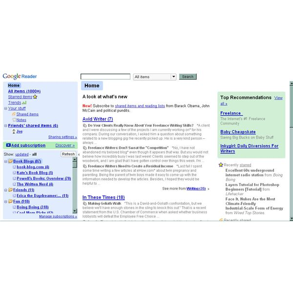 Google Reader Home Page