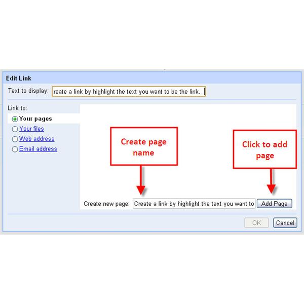 Figure 2: Use the Edit Link dialog box to create new pages for your site.