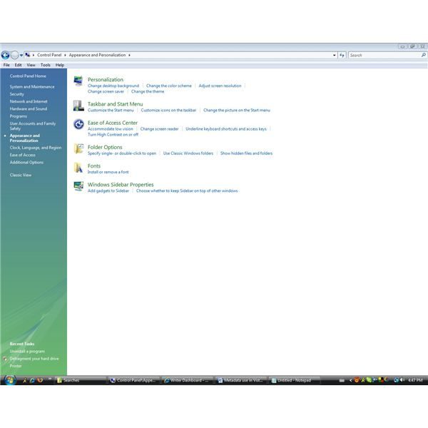 The Appearance and Personalization window