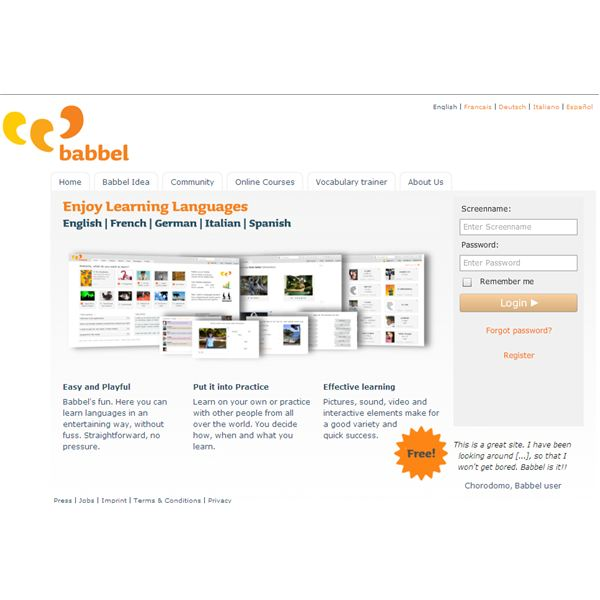 Babbel Screenshot - Main Page
