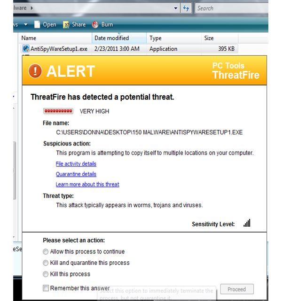 ThreatFire Prevented Fake AV Installation