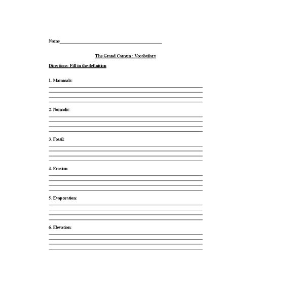 History Of The Grand Canyon Lesson Plan. Worksheets Math Vocabulary. Worksheet. Grand Canyon Worksheets At Mspartners.co