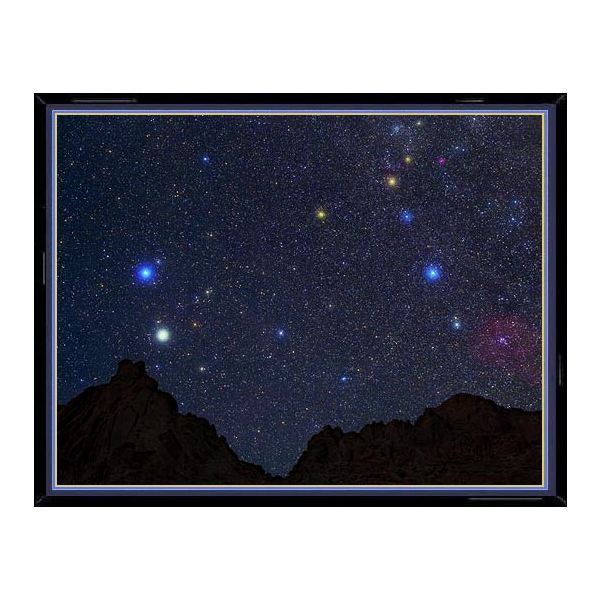 This photo of the constellation Gemini shows, enlarged in their true color, the main