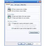 The folder options screen available in Windows XP