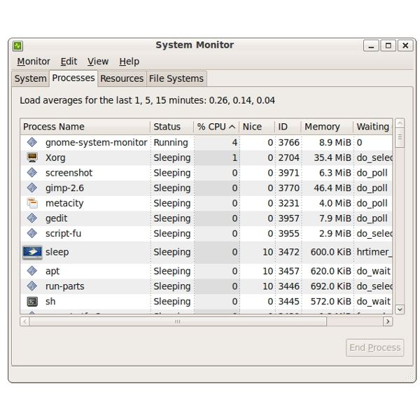 System Monitor Processes