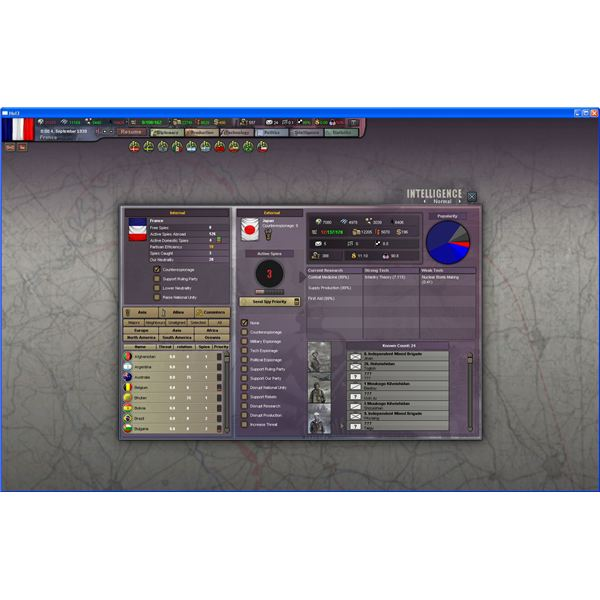 Intelligence view in Hearts of Iron III