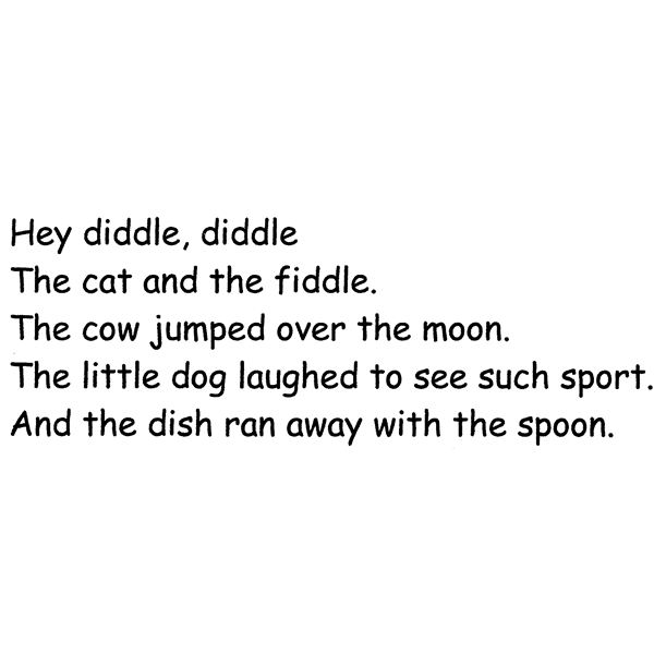 Hey, Diddle, Diddle Lesson Plan for Week Long Activities with Rhymes and Word Families