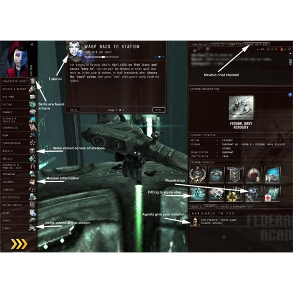 Inside of an Eve Online space station. Most trading takes place here