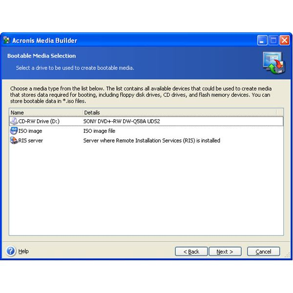 Figure 2: Bootable Media Selection