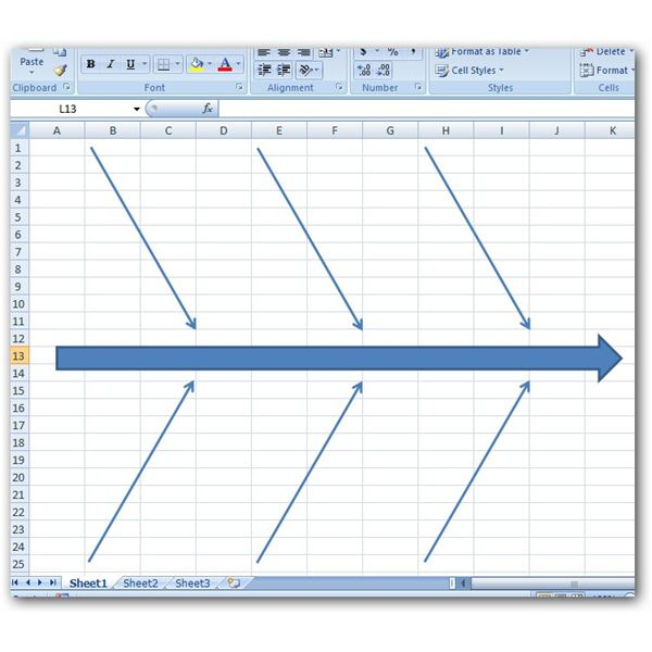 Fishbone diagram in excel idealstalist how to create a fishbone diagram in microsoft excel 2007 ccuart Images