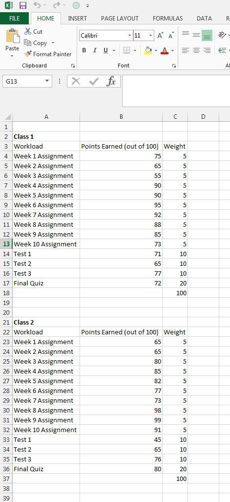 semester assignment spreadsheet