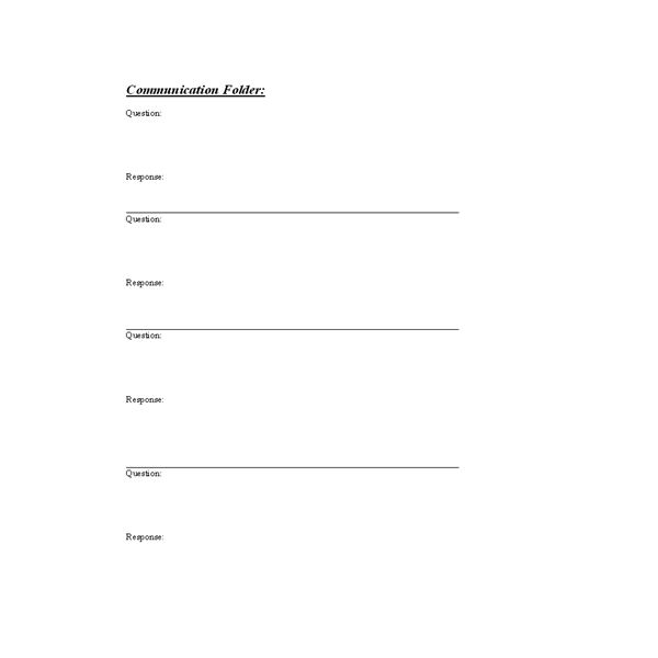 Communication Folder Questions/Reponses