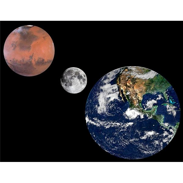 Mars, Earth and Moon to Scale