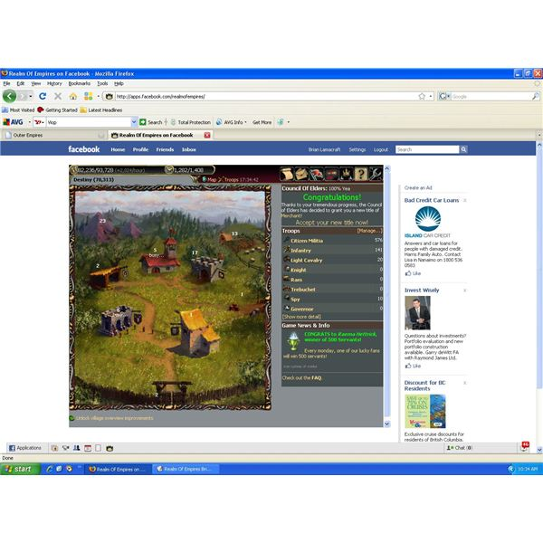 Facebook Game Review: Realm Of Empires. game basics, settlements, and making money.