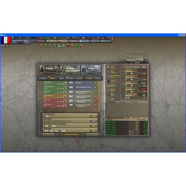 Production View in Hearts of Iron III