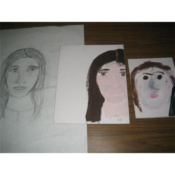 Student drawing and portraits