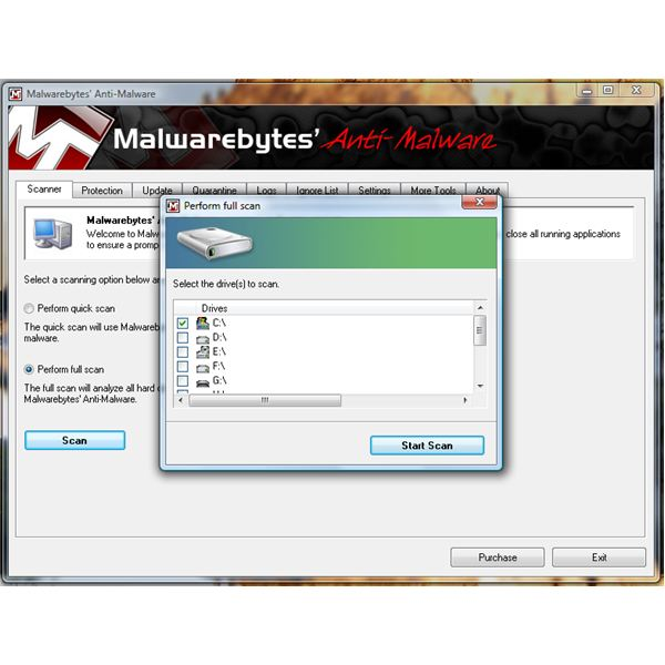 System drive scan using MBAM