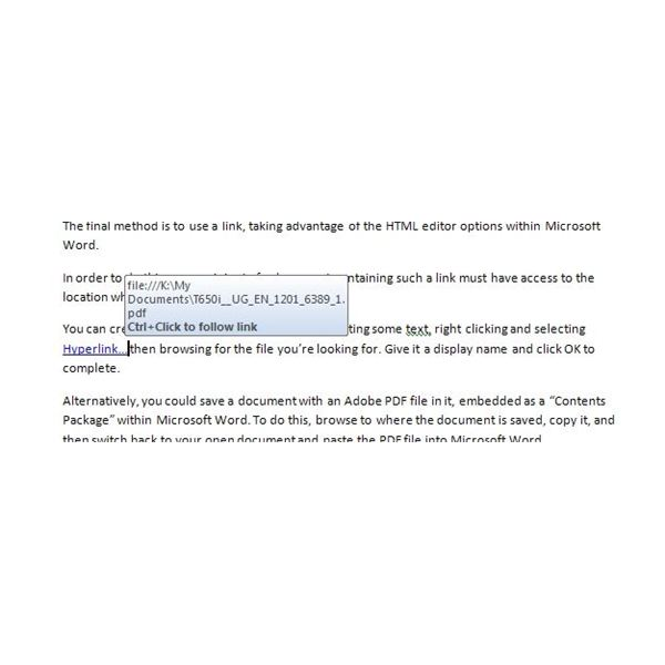 Use Microsoft Word HTML functions to embed a link to your PDF file