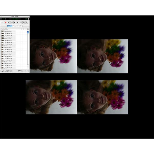 Slide show mode, 4 images per view