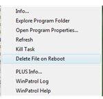 Delete File on Reboot Option in WinPatrol